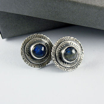 Handmade Graffiti Labradorite Stud Earrings