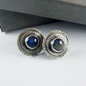 Graffiti Labradorite Stud Earrings - earrings