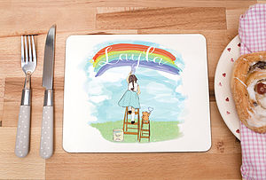 Children's Personalised Placemat 'Rainbows' - tableware