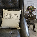 Personalised Mr And Mrs Anniversary Cushion