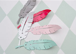 Metal Feather Coat Hooks - bathroom