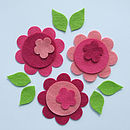 Set Of Three Felt Flowers   Pink
