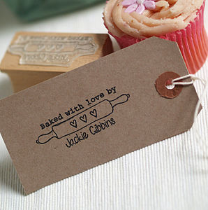 'Baked With Love' Rolling Pin Rubber Stamp - ribbon & wrap