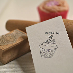 Personalised 'Baked By…' Cupcake Rubber Stamp - ribbon & wrap