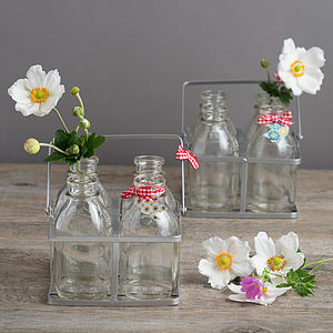 Set Of Four Vintage Style Mini Milk Bottles In A Crate - flowers, plants & vases