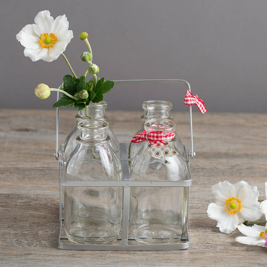Set Of Four Vintage Style Mini Milk Bottles In A Crate By
