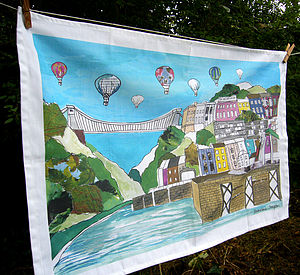 Bristol Tea Towel   'Clifton Balloons' Colour