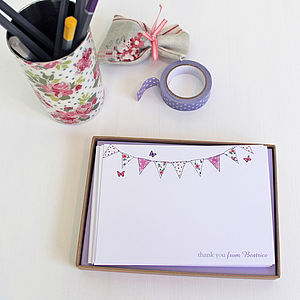 Personalised Bunting Notecards Set