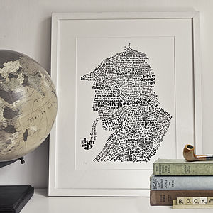 Typographic Sherlock Holmes Print - book-lover