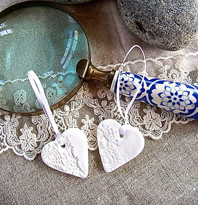 Vintage Lace Impressed Porcelain Heart