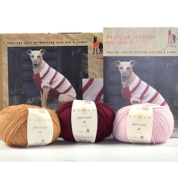 Stylish Stripe Knitted Dog Jumper Kit Red