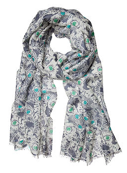 Feather Print Cashmere Scarf
