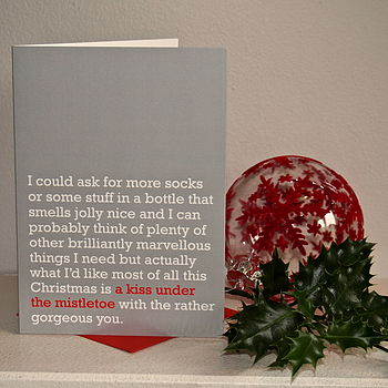 'A Kiss Under The Mistletoe' Christmas Card