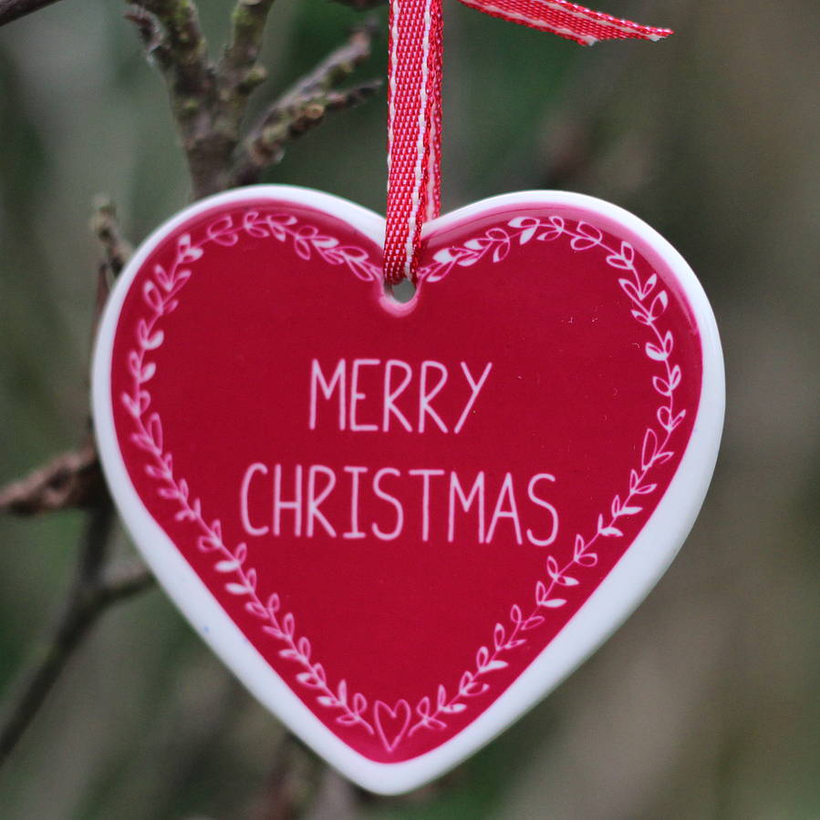 personalised heart christmas tree decoration by what katie ...