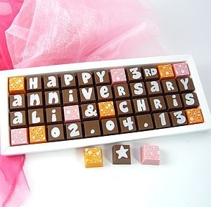 Personalised ANNIVERSARY Chocolates - cakes & treats