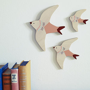 Folky Flying Swallows, Set Of Three - children's pictures & paintings