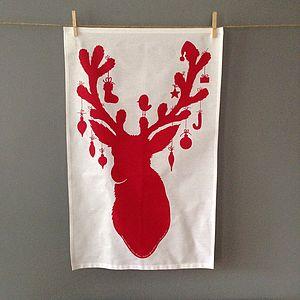 Reindeer And Baubles Christmas Tea Towel In Red