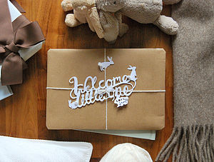 'Welcome Little One' Paper Cut Gift Topper - shop by recipient