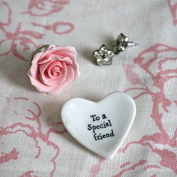 'Special Friend' Tiny Porcelain Heart Dish