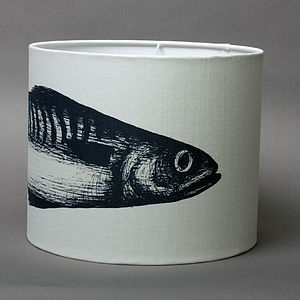 Linen Mackerel Lampshade - lamp bases & shades