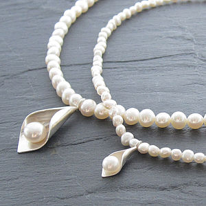 Calla Lily Pearl Necklaces