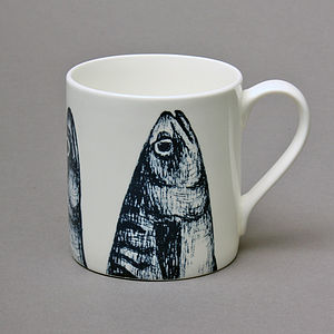 Bone China Mackerel Heads Mug - mugs