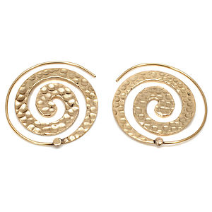 Hammered Brass Spiral Earrings - women's jewellery