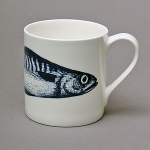 Bone China Mackerel Mug - mugs