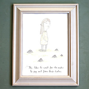 'Waiting For The Moles' Print - children's pictures & paintings