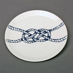 Maritime Bone China Dinner Plate Carrick Bend Knot - plates