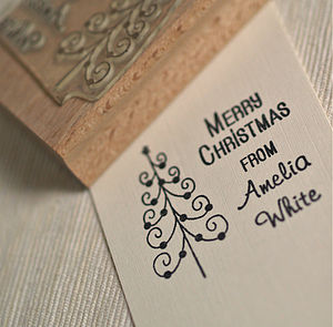 Personalised Christmas Tree Rubber Stamp - cards