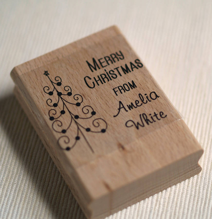 personalised christmas tree rubber stamp by pretty rubber ...