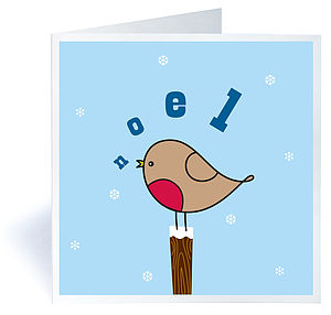 Pack Of Six Singing Robin Christmas Cards