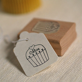 Mini Cupcake Personalised Rubber Stamp