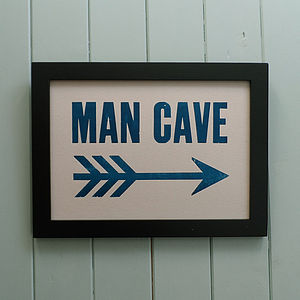 Letterpress Print: Man Cave - ultimate man cave