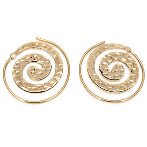 Large Hammered Brass Spiral Earrings - earrings