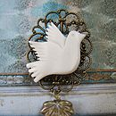 Mother Of Pearl Vintage Style Dove Brooch