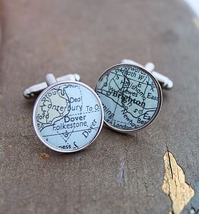 Personalised Circular Map Cufflinks - men's jewellery