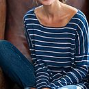 Slouchy Cashmere Boatneck - Ink Blue Stripe