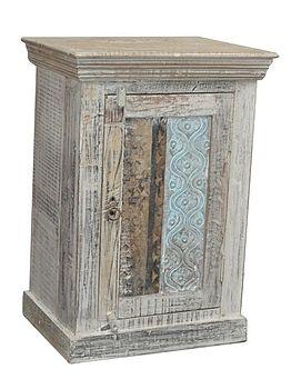 Carved Wooden Bedside Cabinet