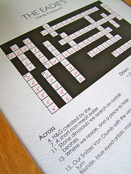 Personalised Crossword Puzzle Print