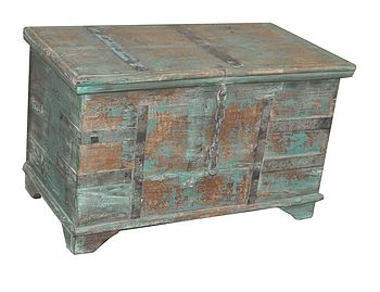 Vintage Green Wooden Trunk
