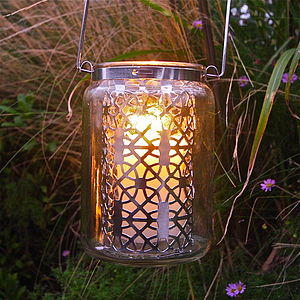 Silver Lattice Jar Lantern - outdoor decorations