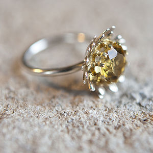 Gilded Silver Golden Citrine Daisy Ring - rings