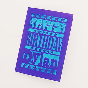 Personalised Happy Birthday Papercut Card