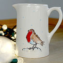 Hand Painted Farmhouse Christmas Robin Jug