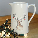 Hand Painted Farmhouse Christmas Stag Jug