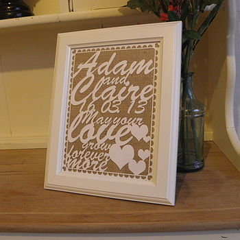 Personalised Laser Cut Wedding Keepsake