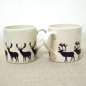 Mug With Stag Motives - less ordinary festive table decorations