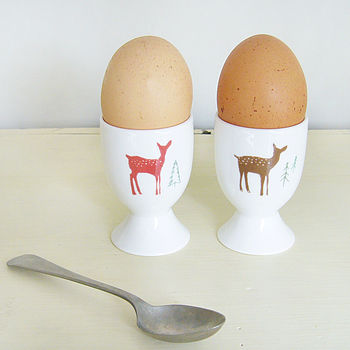 Pair Of Christmas Deer Egg Cups